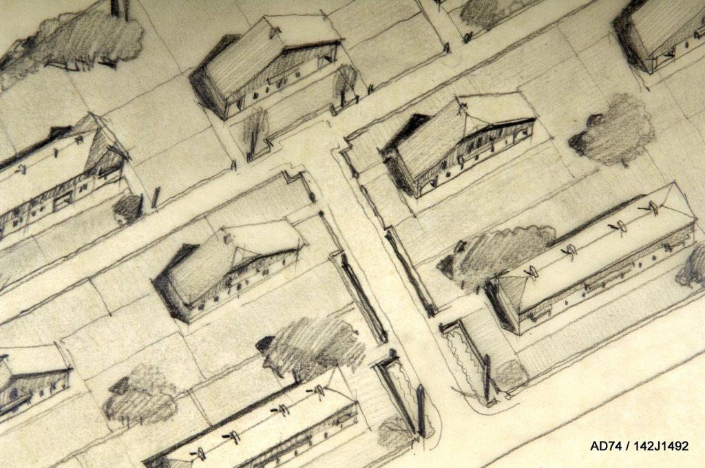 Vue perspective aérienne, 1945, projet de cité-jardin le Nant Trouble, non réalisé - Ugine (73)
