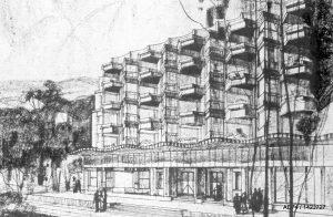 Vue perspective, fin des années 1920 sanatorium Plaine-Joux-Mont-Blanc, en collaboration avec P. Abraham architecte Passy (74) – non réalisé