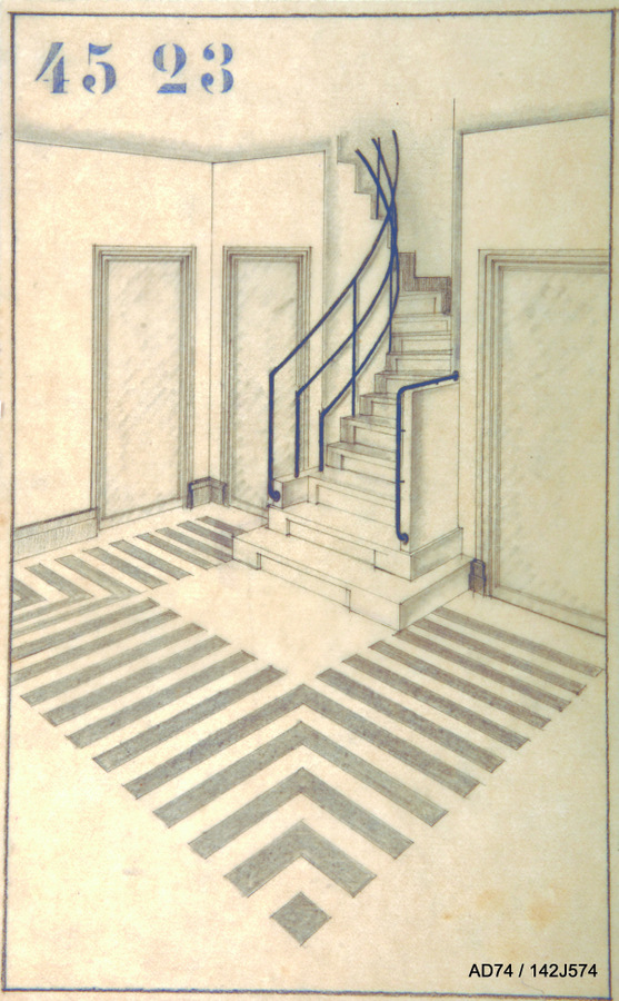 Vue perspective du vestibule de la maison-atelier d'Henry Jacques Le Même, fin des années 1920 – Megève (74)