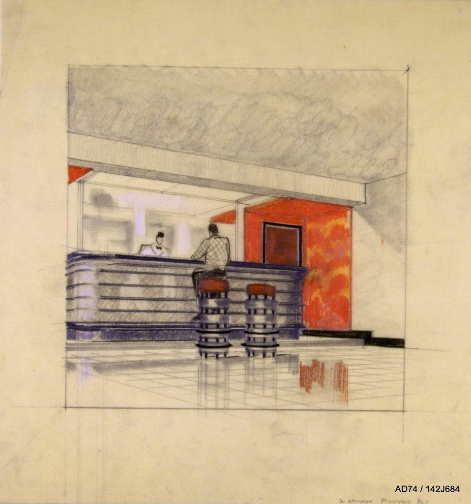 Croquis d'ambiance, milieu des années 1930 – Bar Le Mauvais Pas – Megève (74)