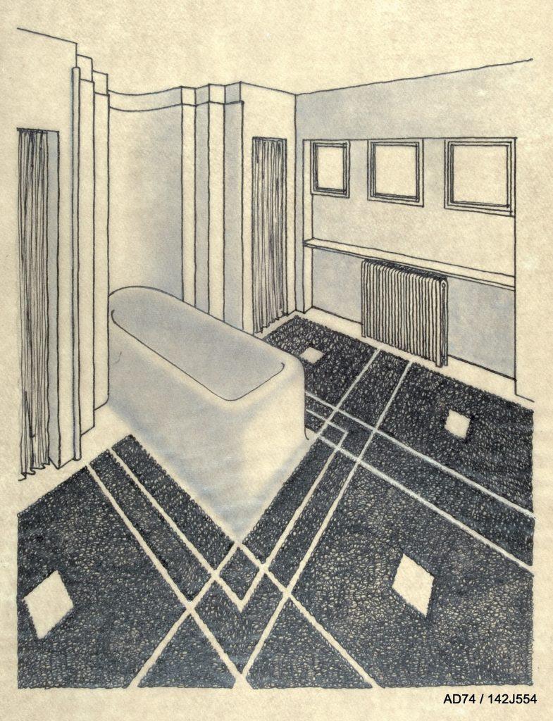 Vue perspective de la grande salle de bains, chalet du skieur pour Angèle de Bourbon, 1928 – Megève (74)