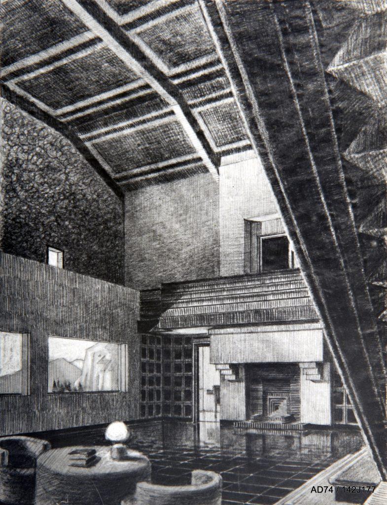 Vue perspective, 1929 – Planche de diplôme de H. J. Le Même : Un chalet dans une station de sports d'hiver en Haute-Savoie