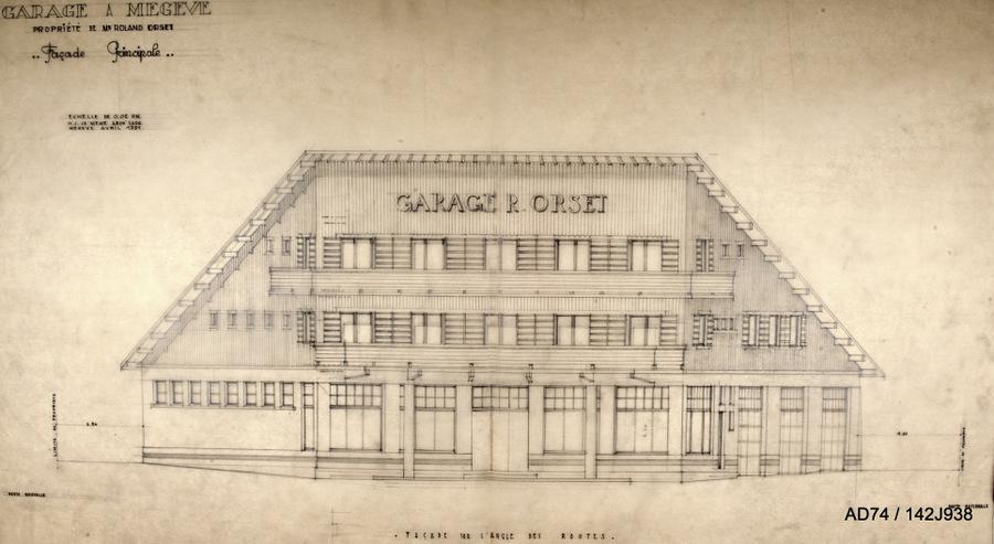Façade du garage Orset, 1951 Megève (74)