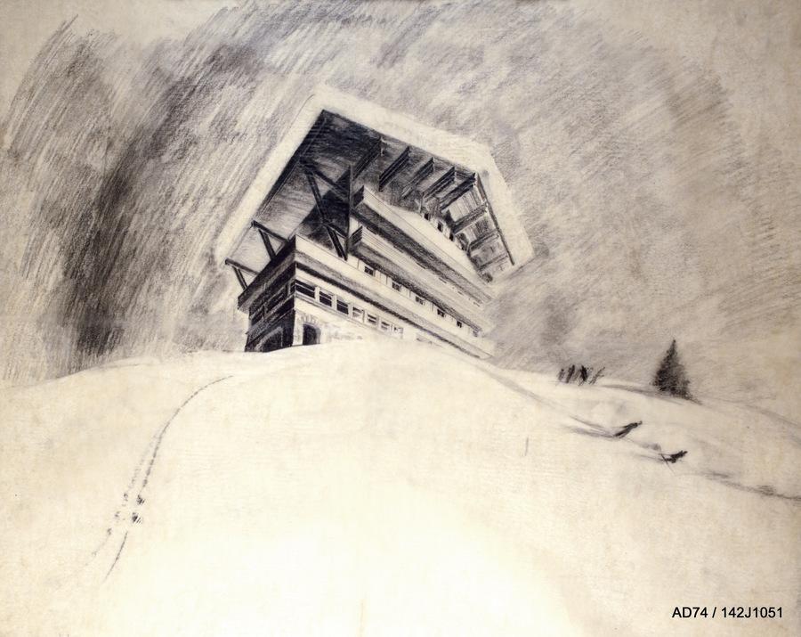 Vue perspective, hôtel pour une station de sports d'hiver, 1939 – les Allues (73) non réalisé